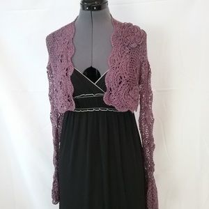 Cute purple crochet shrug sweater